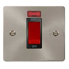 Click Define 1G 45A DP Switch Brushed Stainless Steel with Neon