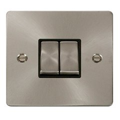 2 Gang 2 Way 10A Switch Brushed Stainless Steel