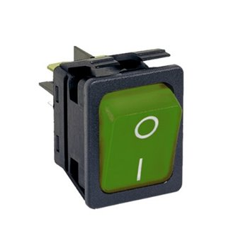 Illuminated Green Rocker Switch DPST On-Off 16A 230v 30x22.1mm 377-9765
