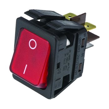 Red Rocker Switch ON/OFF Illuminated DPST IP44 16A 250V 30mm 22.1mm 377-9759
