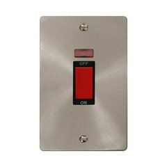 2 Gang DP 45A Cooker Switch Brushed Stainless Steel Click Define