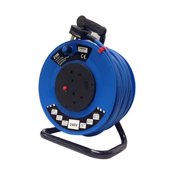 25M 220v-240v Extension Cable Reel 3x2.5mm Artic Flex-2x13A Sockets