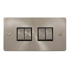 4 Gang 2 Way 10A Switch Click Brushed Stainless Steel FPBS414BK