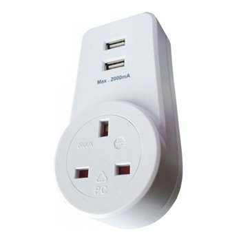 USB Plug-In Adaptor With 2 USB Charging Outlets 2000mA Selectric LG8191-USB2