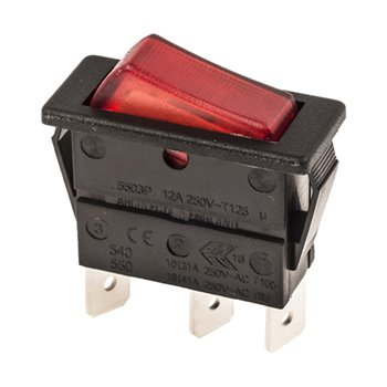 Rocker Switch Illuminated RED SPST 240V On-Off 16A 287-7262